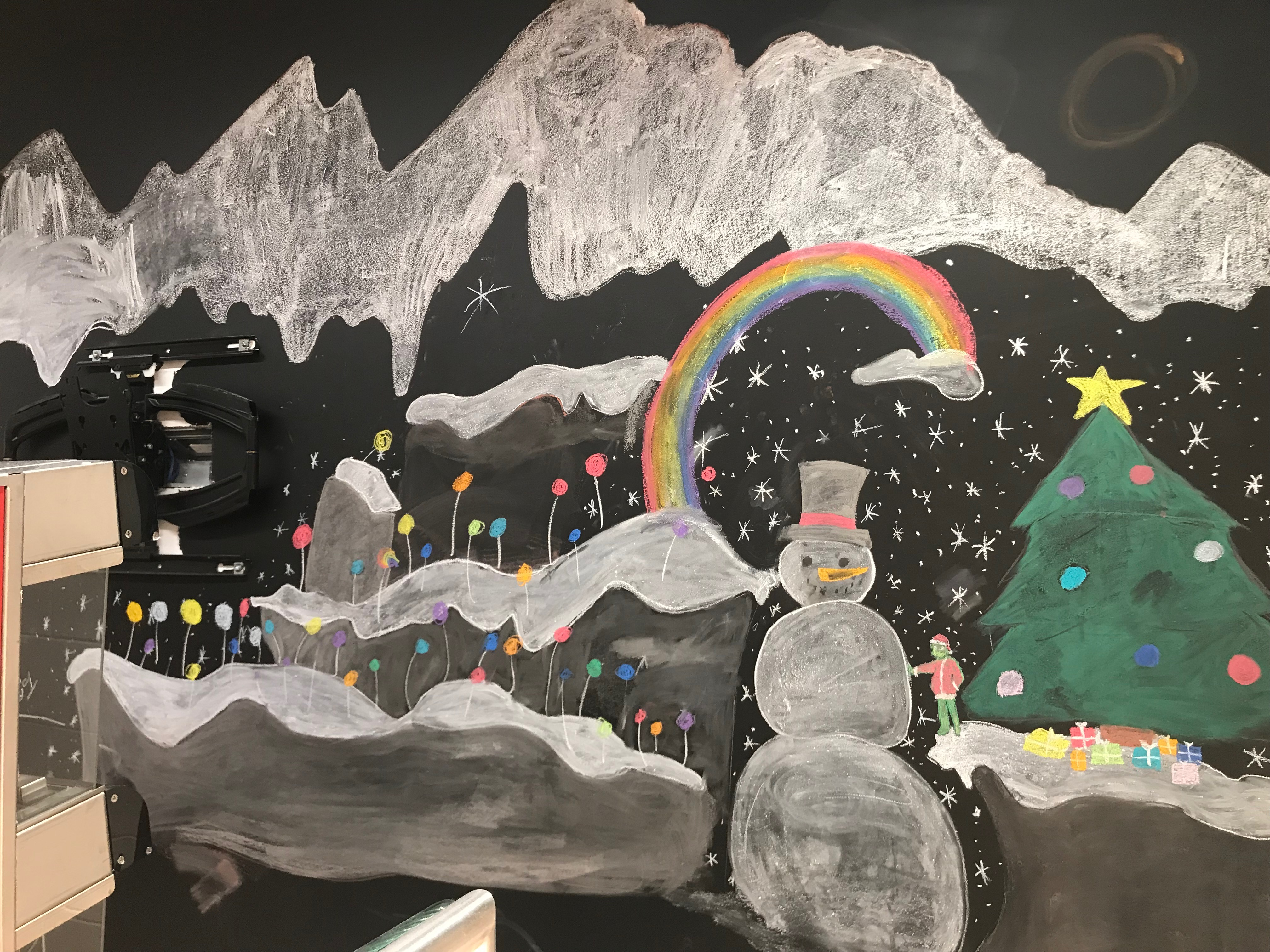Chalk Board Drawing at NMS cafeteria line